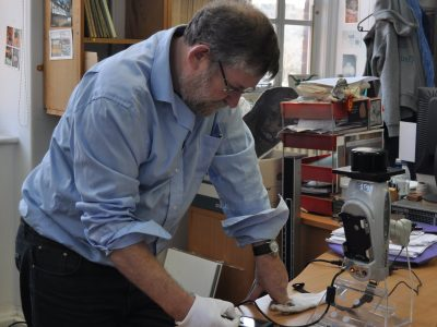 Gerry McConnell using his XRF machine