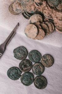 Seaton Down Haord coins being conserved