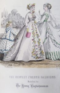 Dress showing embroidered wheat ears. Taken from The Young Englishwoman, 1867