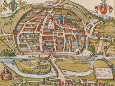 Colour map of Exeter from 1580s