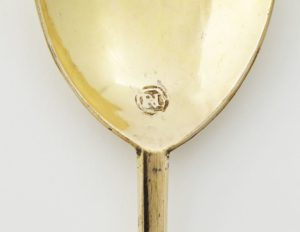 Detail of Richard Hilliard's mark on his Seal Top Spoon.