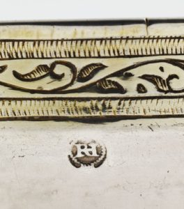 Close up detail of Richard Hilliard's mark on his Protestant Communion Cup.