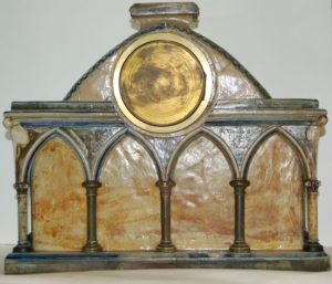 Back of a Gothic Revival Mantle Clock