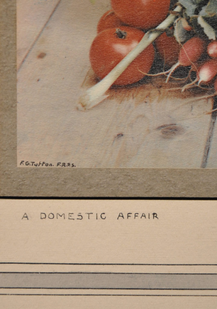 Detailed image of a colour photograph showing inscription of title 'A Domestic Affair' and the artist's signature