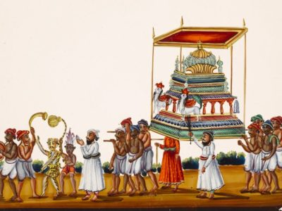 A colour painting on mica. It shows a procession celebrating a festival called Muharram in southern India.