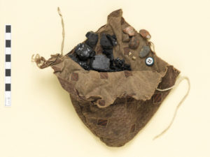 An opened pouch showing contents