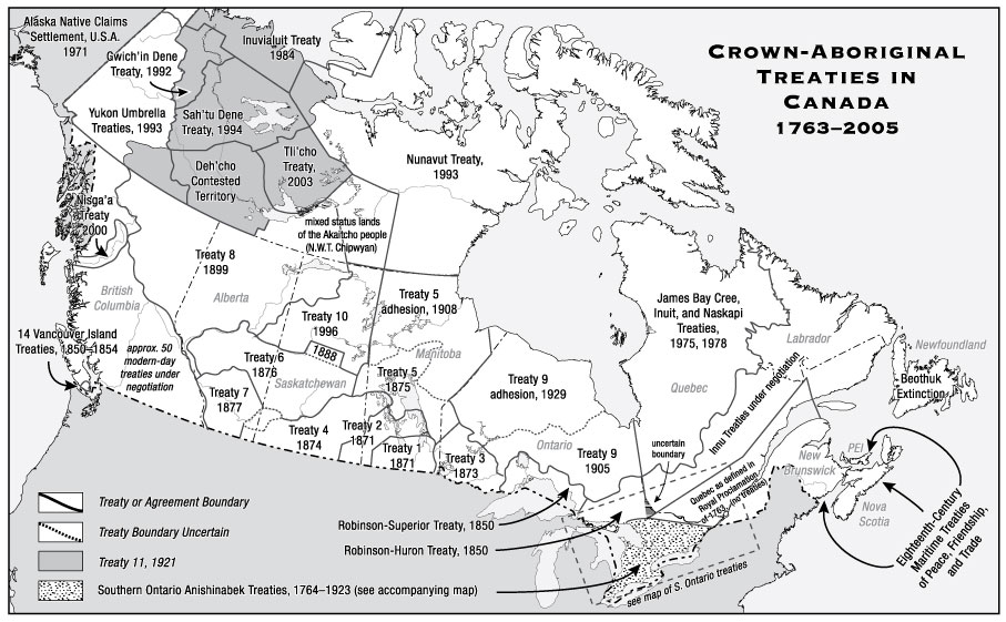 A map showing crown and aboriginal areas