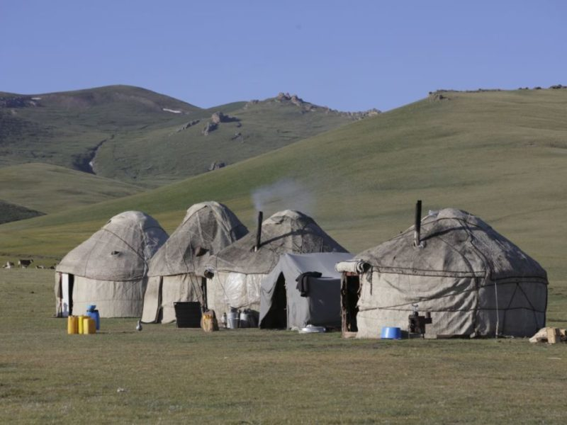 Traditional Kyrgyz huts or yurts in Iran, which are now seen at music festivals, or in glamping sites in Britain. © Gordon Clarke, Institute of Nomadic Architecture