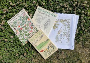3 books and copies of Keble Martin's watercolours laid out on a patch of clover
