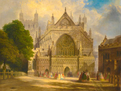 A painting of the the West Front of Exeter Cathedral with people gathered in groups in about 1860 by FJ Corri