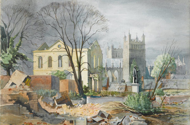 A drawing showing Bedford Street after the Exeter Blitz