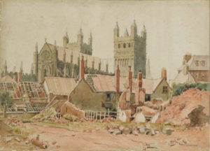 Drawing showing Exeter Cathedral surrounded by rubble and damaged buildings after the Exeter Blitz