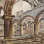 Drawing showing Mary Arches Church with extensive damage to the roof after the Exeter Blitz