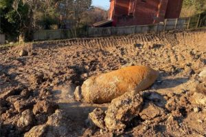 Photograph showing the unexploded bomb found at Glenthorne Road, Exeter